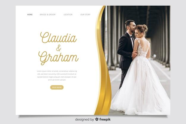Bruiloft bestemmingspagina met afbeelding