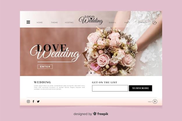 Bruiloft bestemmingspagina met foto-ontwerp