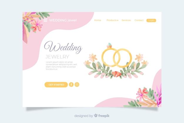 Bruiloft bestemmingspagina met gouden ringen