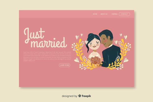 Bruiloft bestemmingspagina met paar