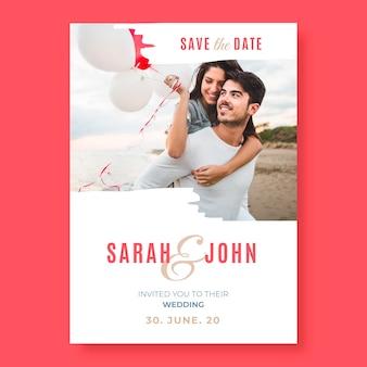 Bruiloft bewaar de datum-sjabloon met foto