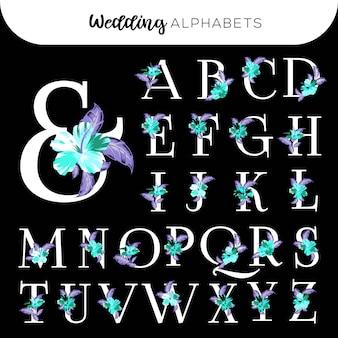 Bruiloft bloemen alfabetten hibiscus