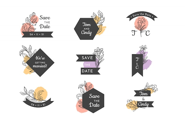 Bruiloft bloemen badge set