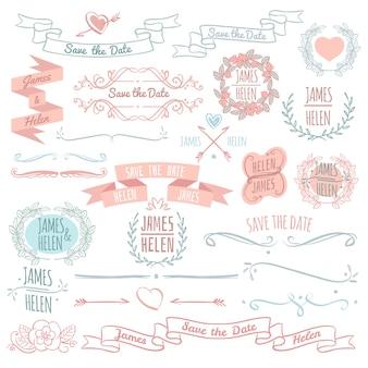 Bruiloft bloemen decoratie elementen vector collectie met hand getrokken krans frames, banners en monogrammen. illustratie van het ontwerp van de huwelijksdecoratie