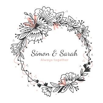 Bruiloft bloemen frame met tekst