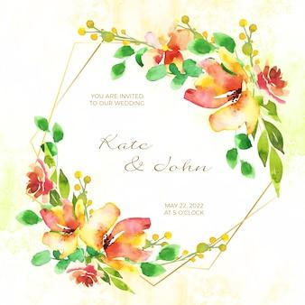 Bruiloft bloemen frame uitnodigingskaart concept