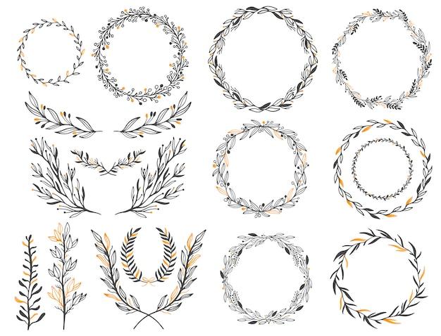 Bruiloft bloemen grafische elementen instellen