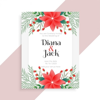 Bruiloft bloemen kaartsjabloon ontwerp