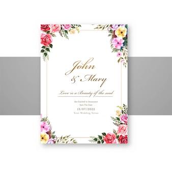 Bruiloft bloemen met uitnodiging uitnodigingskaart sjabloonontwerp
