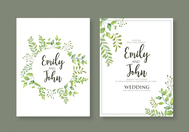 Bruiloft bloemen uitnodigen kaart set met natuurlijke groenplanten