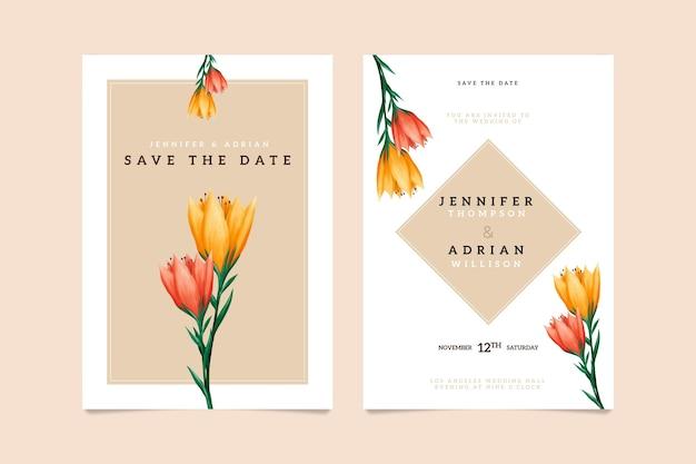 Bruiloft bloemen uitnodiging kaartsjabloon