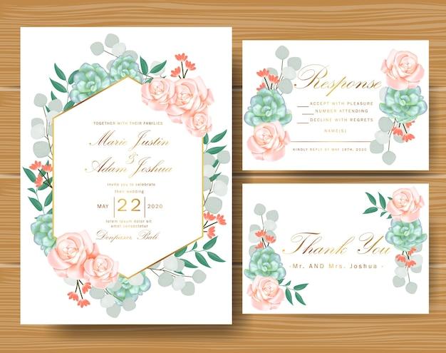 Bruiloft bloemen uitnodiging