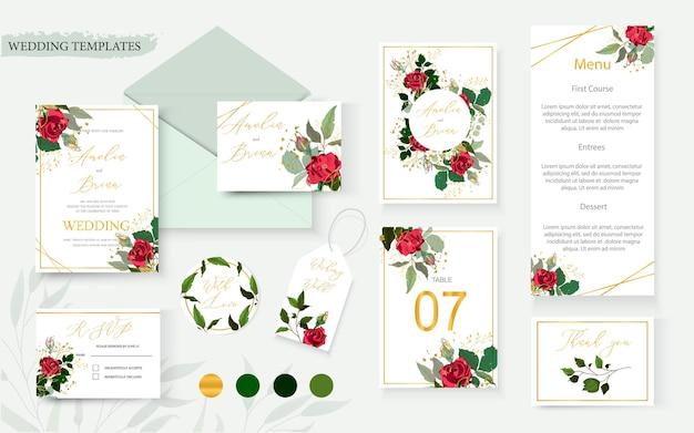 Bruiloft bloemen uitnodigingskaart en envelop set