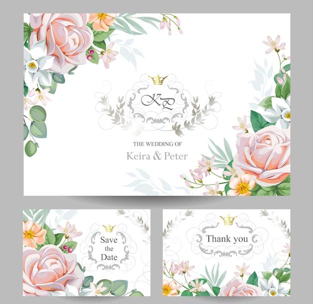 Bruiloft bloemenuitnodiging met rozen