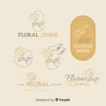 Bruiloft bloemist logo sjabloon collectie
