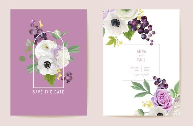 Bruiloft boeket bloemen set. zwarte bes, pioenrozen, anemonen, roze bloemen, bessen, bladeren illustratie. vector aquarel sjabloon grafische elementen voor save the date, moderne uitnodiging