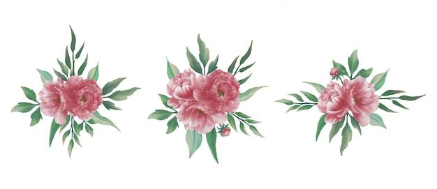 Bruiloft boeket met aquarel pioenrozen