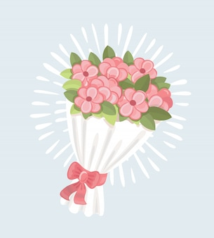 Bruiloft boeket roze rozen pictogram, cartoon stijl