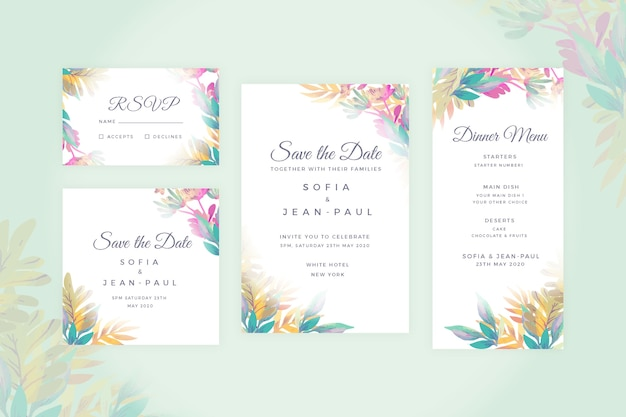 Bruiloft briefpapier bloemen set