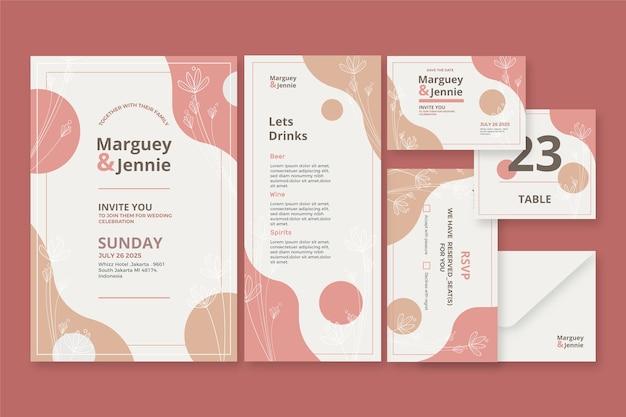 Bruiloft briefpapier ingesteld sjabloon