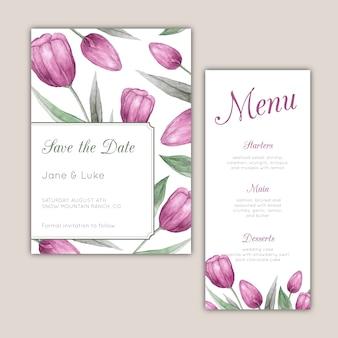 Bruiloft briefpapier set met paarse aquarel tulpen