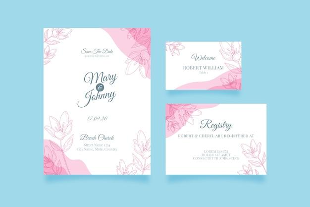 Bruiloft briefpapier sjabloon collectie