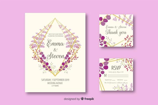 Bruiloft briefpapier sjabloon op platte ontwerp