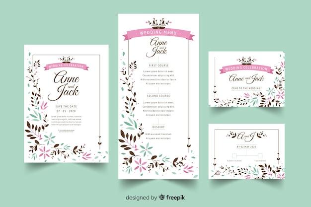 Bruiloft briefpapier sjabloon plat ontwerp