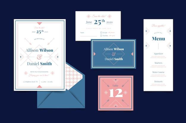 Bruiloft briefpapier sjabloon set