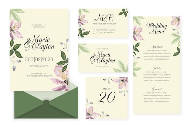 Bruiloft briefpapier sjabloonontwerp