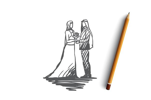 Bruiloft, bruidegom, bruid, paar, moslimconcept. hand getekende moslim bruiloft, bruidegom en bruid concept schets.