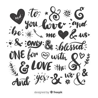 Bruiloft citaten en ampersands