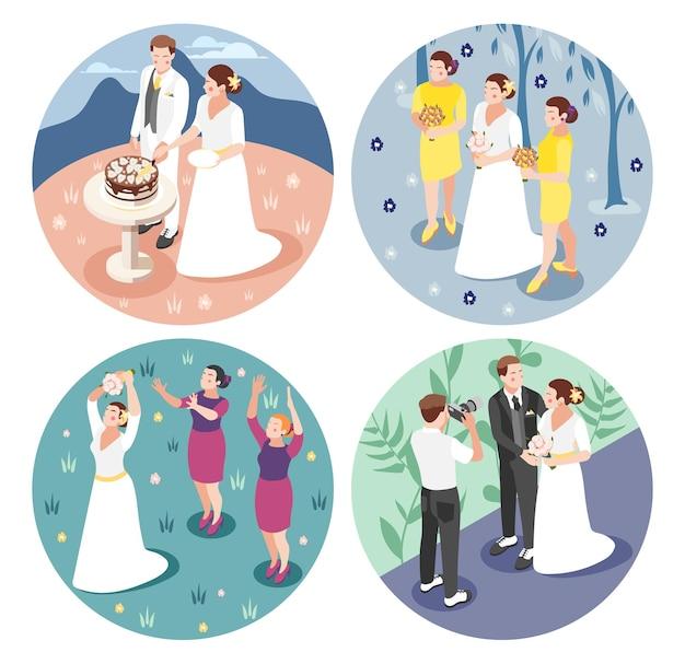 Bruiloft concept met bruid en bruidegom gefotografeerd snijden bruidstaart gooien van bruiloft boeket