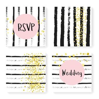 Bruiloft confetti met strepen. uitnodiging instellen. gouden hartjes en stippen op zwart-witte achtergrond. sjabloon met bruiloft confetti voor feest, evenement, vrijgezellenfeest, bewaar de datumkaart.