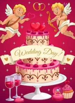 Bruiloft dag cake en cupido's, liefde harten