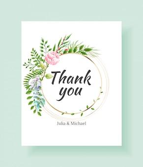 Bruiloft dank u kaartsjabloon. vectorwaterverfbloemen, lelie, klimopinstallaties