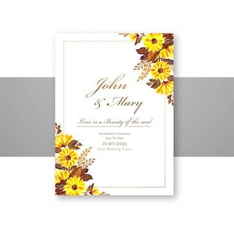 Bruiloft decoratieve bloemen slaan de datum op menukaartsjabloon