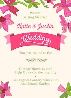 Bruiloft decoratieve ontwerp uitnodigingskaart op wit en veelkleurige woorden over bruiloft van twee gasten datum uur en plaats van feest