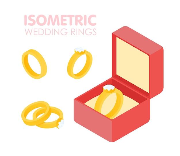 Bruiloft diamanten ring in een doos isometrische set. vector illustratie.