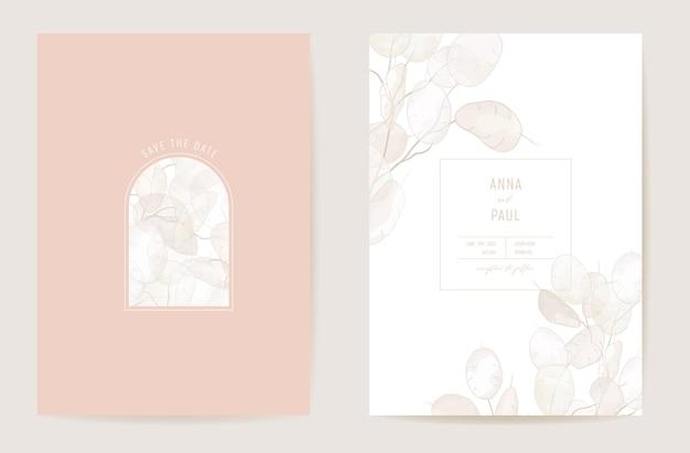 Bruiloft droge lunaria bloemen vector kaart. exotische gedroogde bloemen boho uitnodiging. aquarel sjabloon frame. botanische save the date gebladerte cover, moderne poster, trendy design, luxe achtergrond