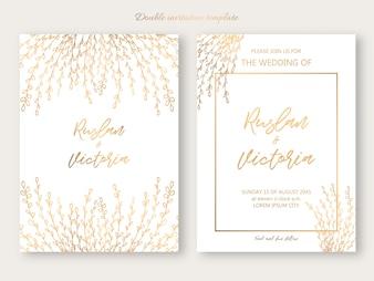Bruiloft dubbele uitnodiging sjabloon met gouden decoratieve elementen. Vector illustratie