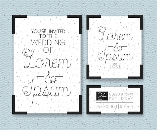 Bruiloft en getrouwd uitnodiging set kaarten