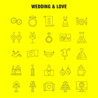 Bruiloft en liefde lijn pictogrammen