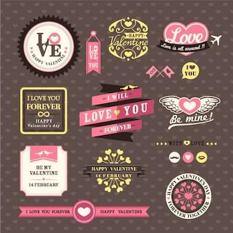 Bruiloft en valentijnsdag elements labels frames vintage style