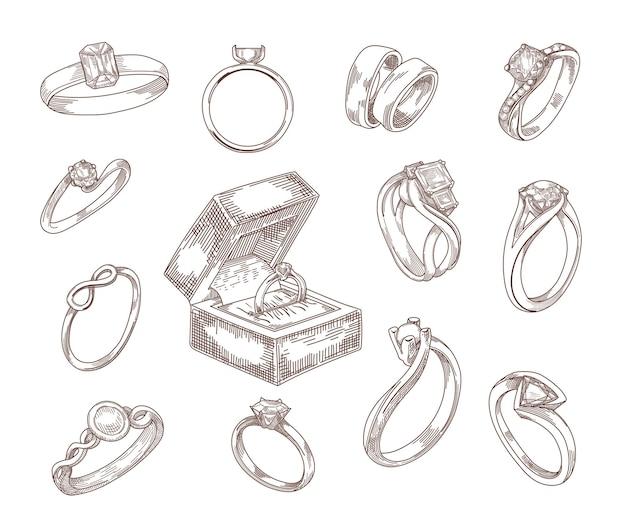 Bruiloft en verlovingsringen hand getrokken schetsen set. gouden en zilveren aanzoekringen met luxe diamant, smaragdgroene edelstenen in vintage gegraveerde stijl. sieraden, accessoires, liefde concept