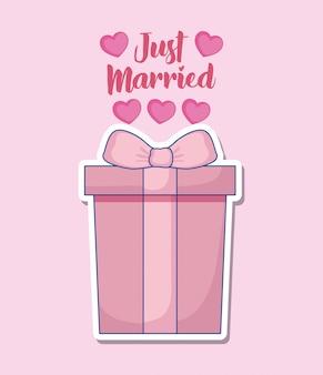 Bruiloft feest kaart met geschenkdoos
