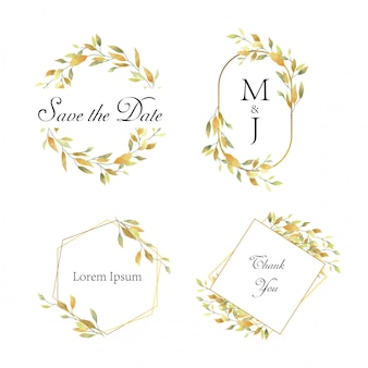 Bruiloft frame met gele aquarel stijl bladeren