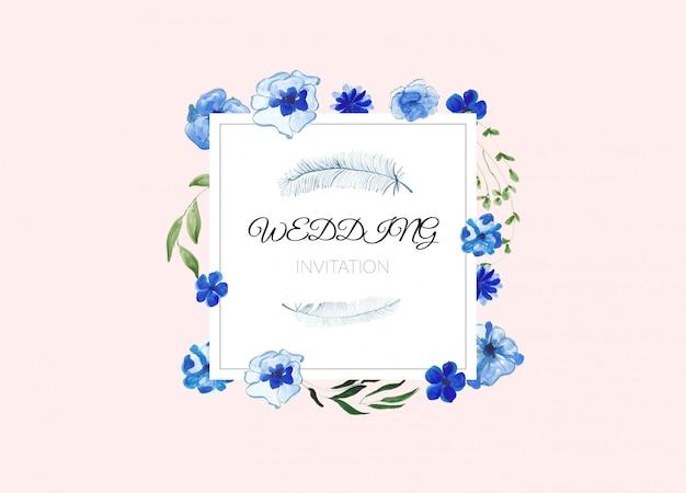 Bruiloft frame uitnodiging met aquarel bloemen