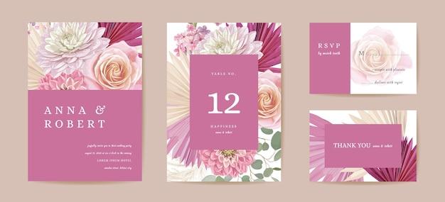 Bruiloft gedroogde dahlia, roos, pampagras bloemen save the date set. vector exotische droge bloem, palmbladeren boho uitnodigingskaart. aquarel sjabloon frame, gebladerte omslag, modern achtergrondontwerp