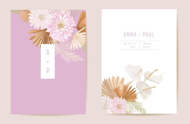 Bruiloft gedroogde lunaria, dalia, pampagras bloemen save the date set. vector exotische droge bloem, palmbladeren boho uitnodigingskaart. aquarel sjabloon frame, gebladerte omslag, modern achtergrondontwerp